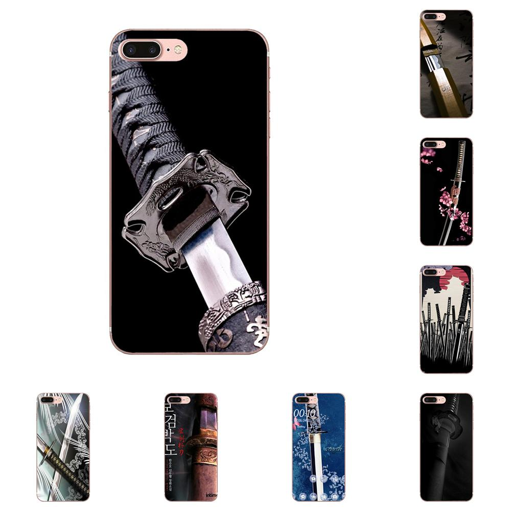 For Apple iPhone X XS Max XR 4 4S 5 5C 5S SE 6 6S 7 8 Plus Soft Cases Capa Katana Japanese Wallpaper Print image