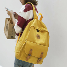 Fashion Buckle Cotton Fabric Backpack Cute Women School Bags