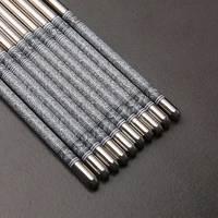 Visual Touch-Juego de 5 piezas de vajilla de acero inoxidable, palillos antideslizantes de 8,9