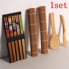 13pcs/set Chopsticks Spoon Sushi blade DIY Bamboo Sushi Maker Set Sushi curtain Rice Sushi Making Kits Roll Cooking Tools sushi discounter