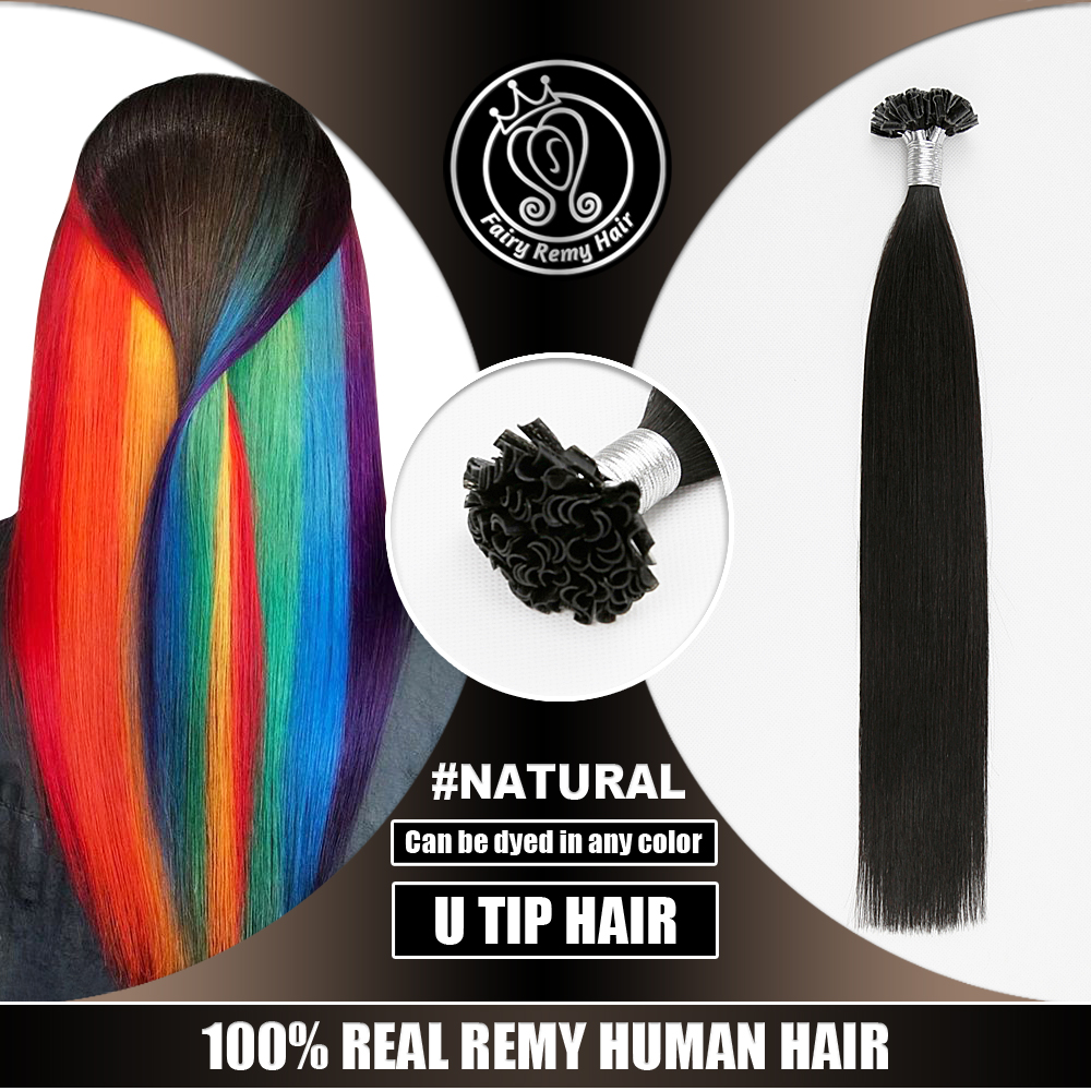 Real Natural Virgin Remy Nail U Tip Human Hair Extension Can Be Dyed All Color 0.8g/s 16