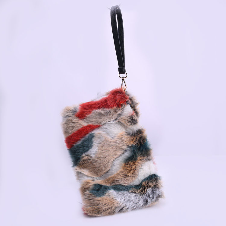 SWONCO  Furry Bag For Woman Fashion Faux Fox Fur Bags New Fashion Women's Clutches Bags Lady Mixed Faux Fur Clutch Handbags