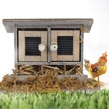 1/12 масштаб миниатюры деревянный кукольный домик муляж курицы курятник украшение для сада двора фермы имитация куриного домика