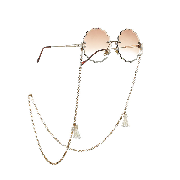 Bohemian Pearl Bead Tassel Women Reading Glasses Chain Sunglasses Spectacles Holder Neck Strap Gold Metal Rope Chain Landyard