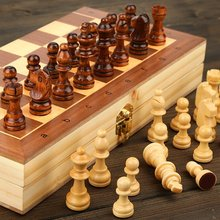 Jeu d'échecs en bois pliant magnétique grand conseil avec 34 pièces d'échecs intérieur pour le stockage Portable voyage ensemble de jeu de société pour enfant