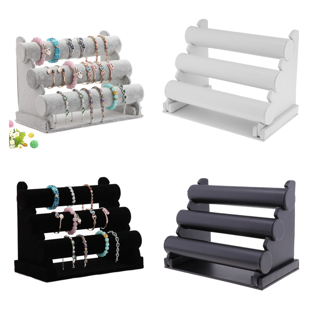 3 Tier Jewelry Hard Display Stand Holder Bracelet Chain Bangle Watch T-bar 2 Colors