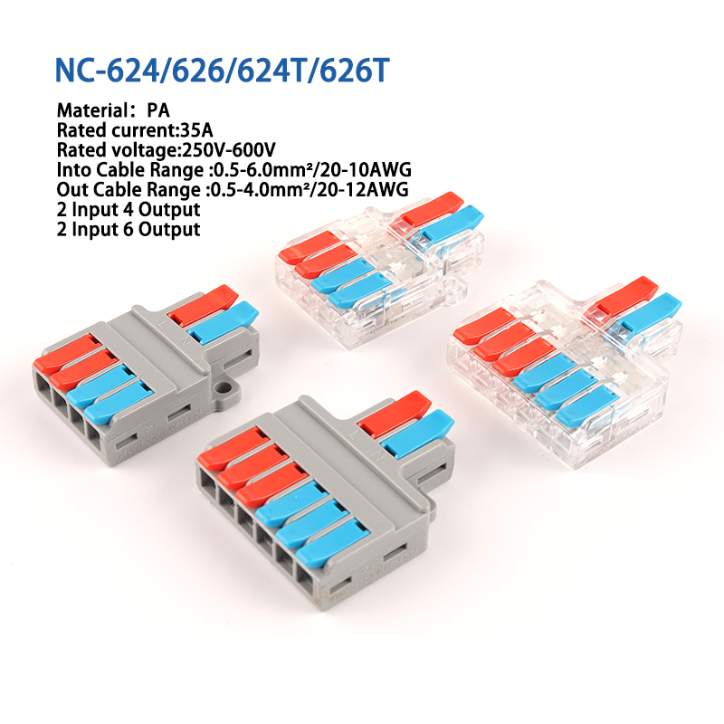 Quick Splitter 2 In 4/6 Out 3 in 6/9 out Wire Connector Universal Wiring Cable Connector  Push-in Conductor Terminal Block