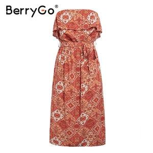 Image 4 - BerryGo bez rękawów kobiety sukienka boho Sexy bez ramiączek potargane kwiatowy print letnia sukienka wysokiej wais sash wakacje plaża sukienka kobieta