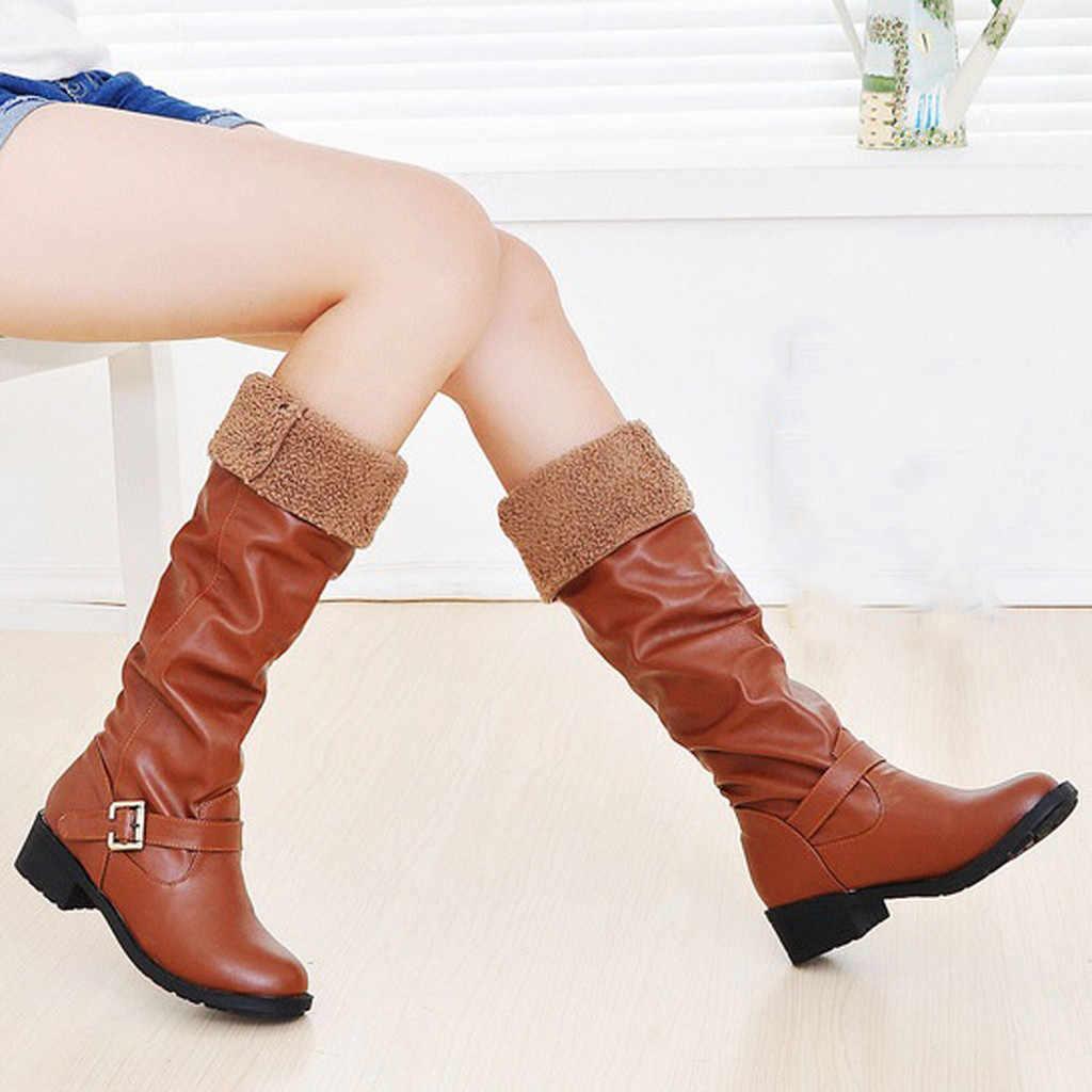 Ayakkabı kadın bayan botları yüksek topuk kış ve sonbahar kadınlar bayanlar Retro düşük topuklu ayakkabılar toka eklemek pamuk uzun tüp şövalye çizmeler