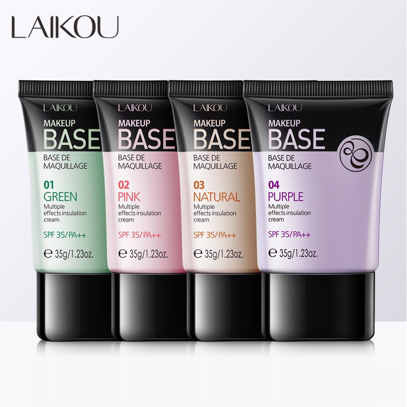 Laikou 4 Colors Face Makeup Base Concealer Liquid Foundation Whitening Primer Oil Control Soft BB Cream Waterproof Lasting image