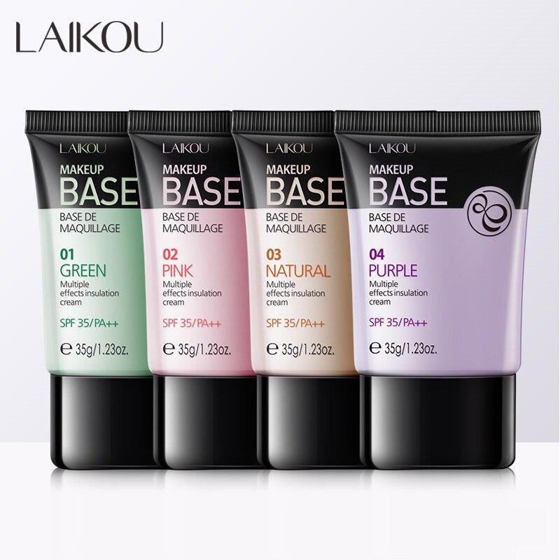Laikou 4 colores base de maquillaje facial base líquida correctora imprimación blanqueadora Control de aceite suave BB crema impermeable duradera