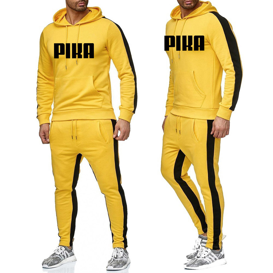 Cross Border Sports Suit Men's Spring And Autumn Hooded Sweatshirt Drawstring Sportswear Men's Pullover Two Piece Casual Wear