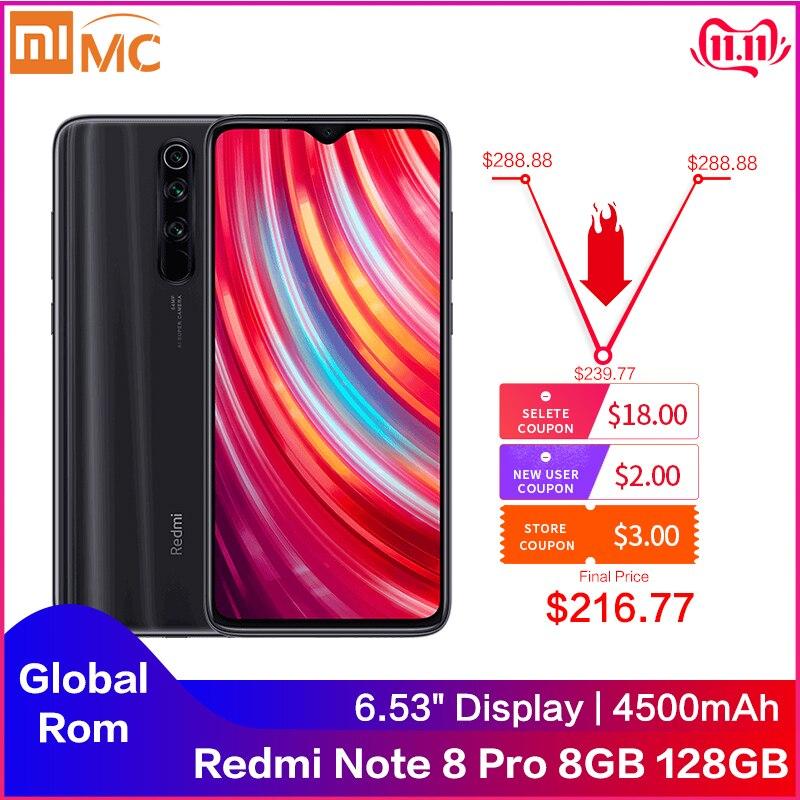 Оригинальный Смартфон Xiaomi Redmi Note 8 Pro, 8 ГБ, 128 ГБ, 64 мп, четыре камеры, глобальная ПЗУ, NFC, 4500 мАч, 18 Вт, MTK Helio G90T, 6,53 дюйма, FHD +
