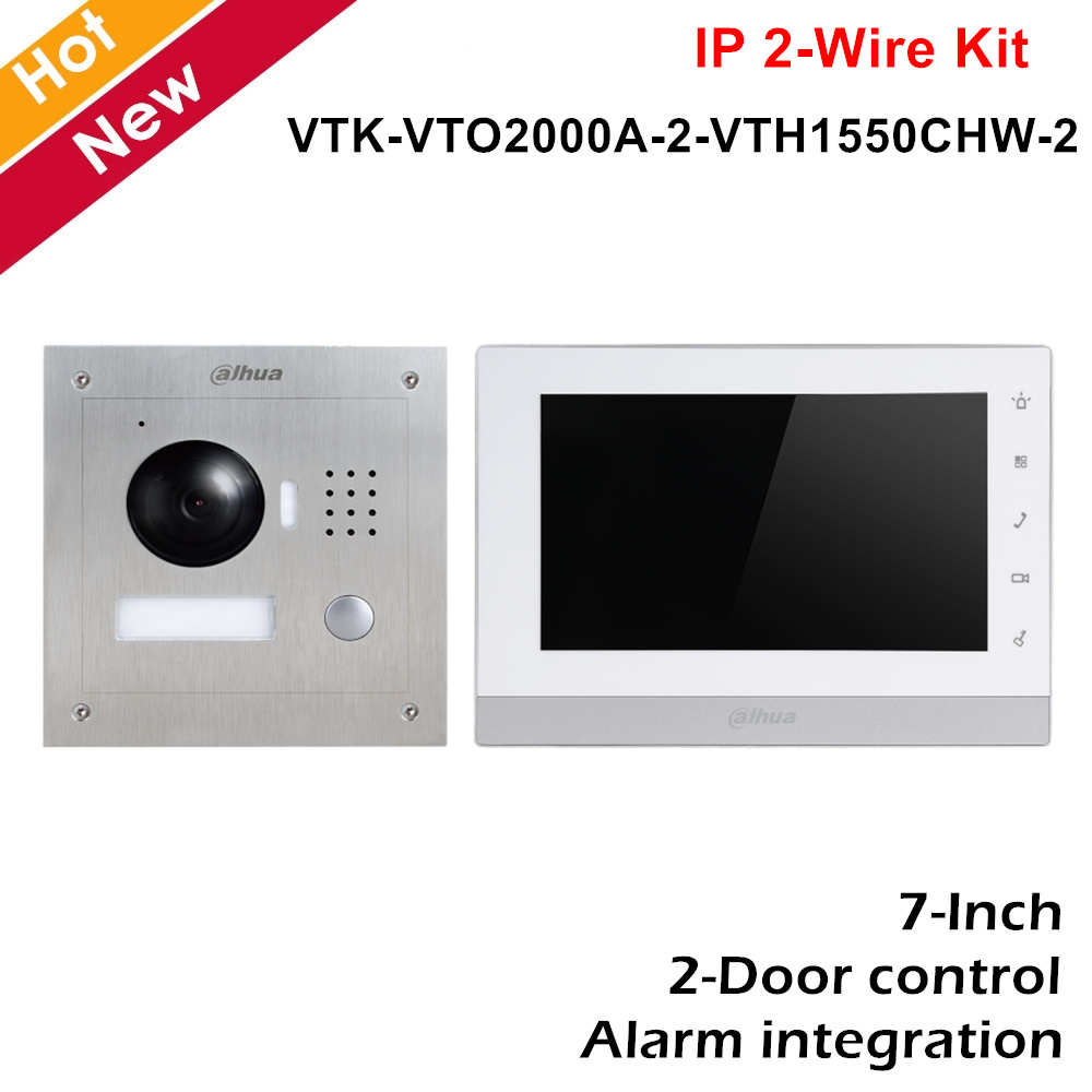 Dahua VTK-VTO2000A-2-VTH1550CHW-2 IP 2-Wire Flush Mount Kit HD CMOS Camera 800×480 2-Door Control Intercoms Kit