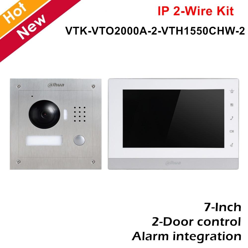Dahua VTK-VTO2000A-2-VTH1550CHW-2 IP 2-Wire Flush Mount Kit HD CMOS Camera 800×480 2-Door Control Intercoms Kit