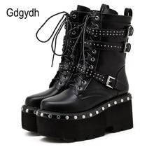Gdgydh – bottes de moto pour femmes, chaussures de printemps, bout rond, plateforme épaisse, talons hauts, Style gothique, 2021