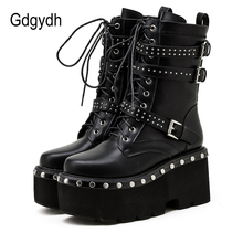 Gdgydh 2021 Spring Lace-Up Motorcycle Boots For Women Round Toe Thick Platform High Heels Female Ankle Boots Gothic Style Shoes