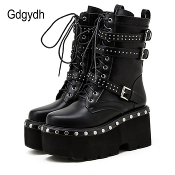 Gdgydh 2021 Spring Lace-Up Motorcycle Boots For Women Round Toe Thick Platform High Heels Female Ankle Boots Gothic Style Shoes gdgydh spring luxury shoes women boots designer thick heel platform female ankle boots sexy buckle comfortable round toe boots