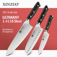 XINZUO 3PCS Kitchen Knife Set Germany 1.4116 Stainless Steel Professional 8 in Chef 7 in Satoku 5 in Utility Knives Cooking Tool