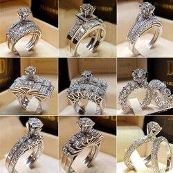 Conjunto de anéis duplos de prata 2, pçs/lote, brilhante, pedra de zircônio, anel para mulheres, amantes românticos, joias de aniversário, casamento