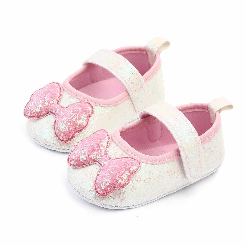 תינוקות ילדה נעלי מוקסינים נעלי Bow-קשר נסיכת נעלי פעוט הליכה נעלי רך סוליות נעלי החלקה תינוק נעלי עריסה