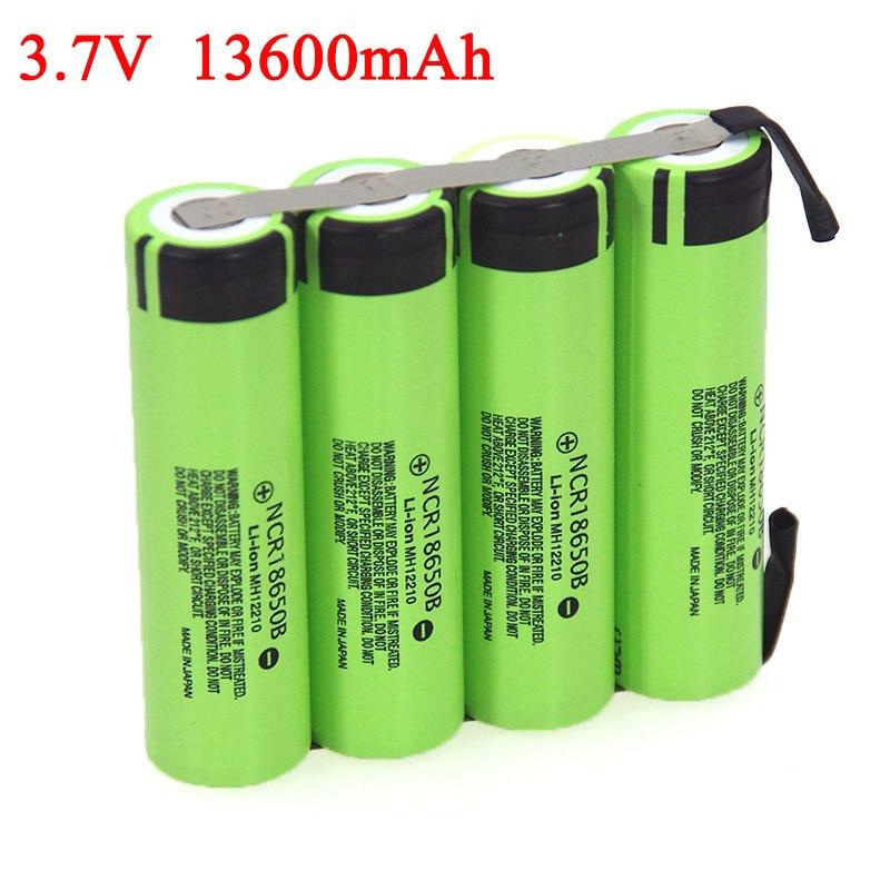 3.7V 6800mAh 13600mAh NCR18650B Lithium Battery Pack Fishing Light Bluetooth Speaker 4.2V Soldering Nickel Sheet DIY Batteries