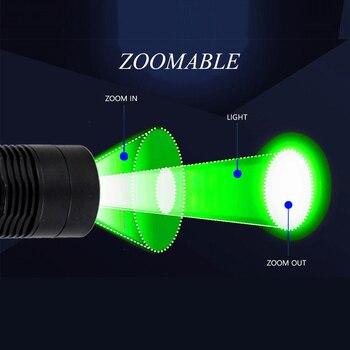 السوبر مشرق الأخضر التكتيكية مضيا T6 LED فانوس زوومابلي قابل للتعديل التركيز إضاءة صيد ضوء سلاح للخارجية