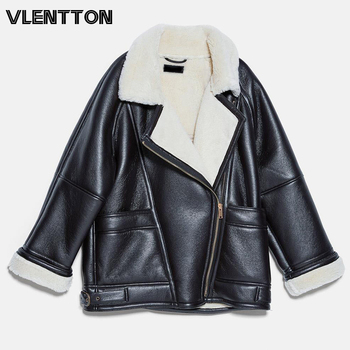 2021 Winter Women Fashion Thick Faux Leather Jacket Casual Pockets Warm Lambswool Oversize Overcoats Female Loose Outwear 1