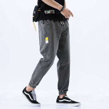 2020 hot style trendy men's jeans men's loose trendy brand harem cropped trousers all-match Korean casual pants