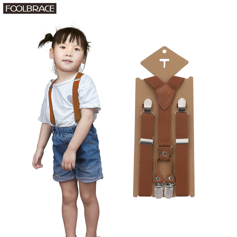 75*2.5cm Lovely Kids Adjustable 3 Clip-on Braces Boys Girls Y-back Suspender Child Elastic Shield Leather Ring Boy Wear