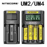 NITECORE UM2 UM4 автоматическое универсальное быстрое зарядное устройство интеллектуальное зарядное устройство USB с двумя слотами ЖК-дисплей Li-Ion ...