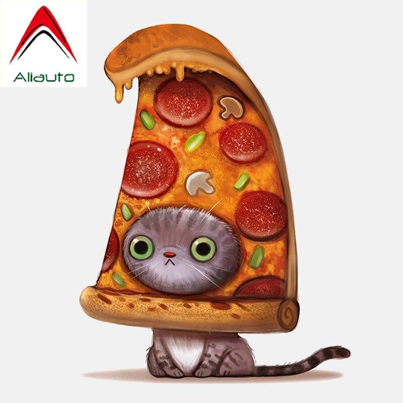 >Aliauto Funny Automobile Motorcycle <font><b>Cartoon</b></font> Car Sticker <font><b>Delicious</b></font> Pizza and Cat <font><b>PVC</b></font> Waterproof Reflective Decals,13cm*10cm