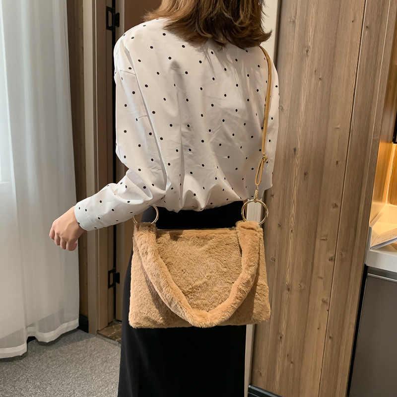 Novo inverno das mulheres da pele do falso ombro saco de pelúcia peludo senhoras crossbody tote sacos de luxo quente macio simples bolsa