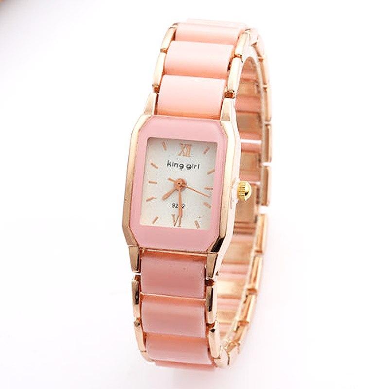 2019 Watches Women Cute Pink Imitation Ceramic Band Quartz Watches Women Rectangle Watches Ladies Watches Relogio Feminino
