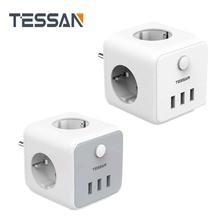 TESSAN Power Strip EU Plug Adapter USB Socket Switch 3 Outlets 3 USB Ports Extension Multi 2500W Home Travel Charging Cube