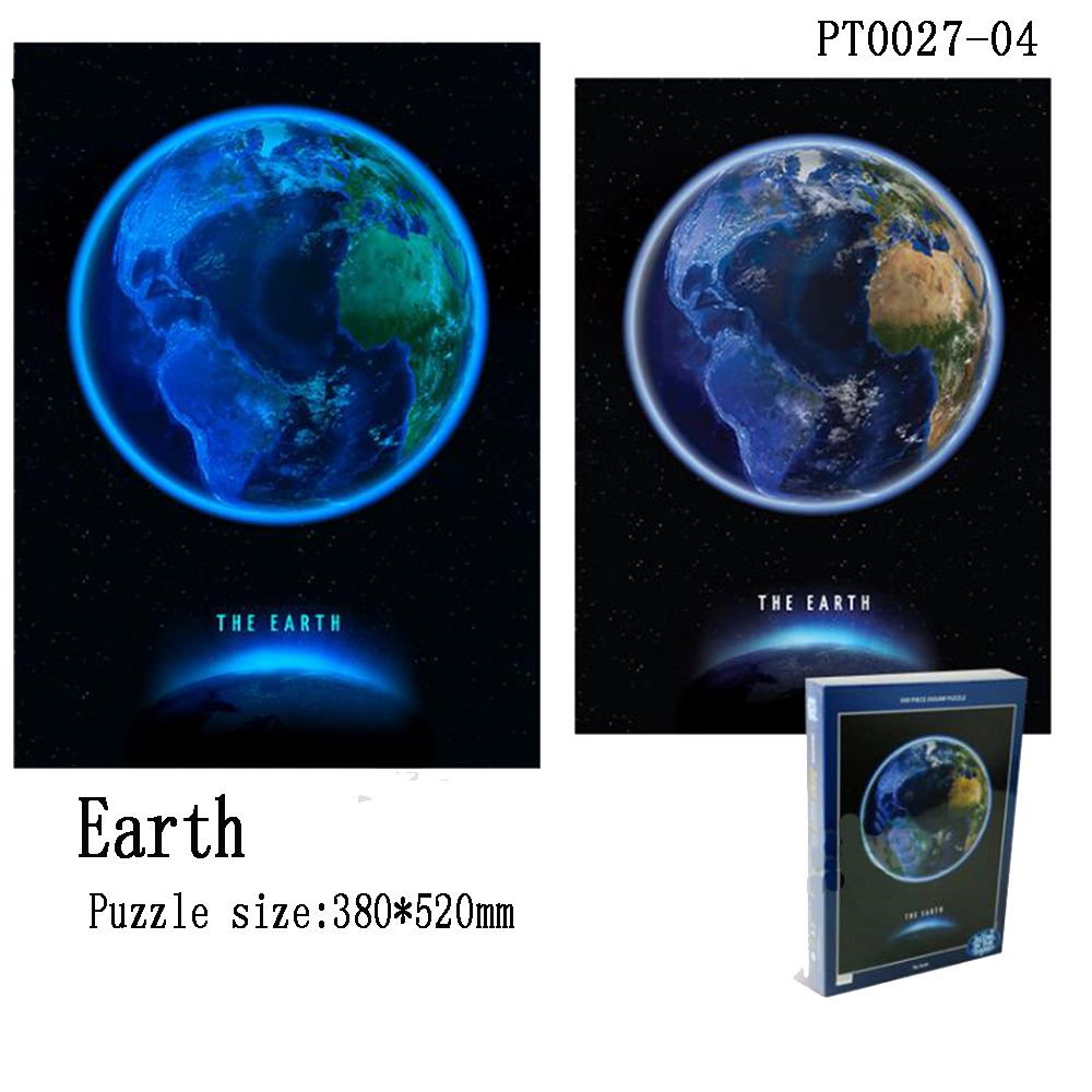 Earth Moon Puzzle Luminous 500/568 Piece Circular Astronomy Planet Universe Moon Creative Decompression Puzzle Gift
