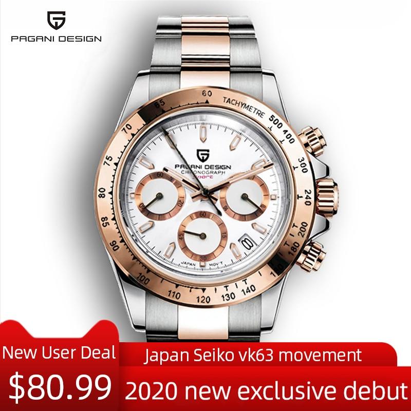 PAGANI DESIGN Men's Watches Luxury Business Wrist Watch Men Stainless Steel Quartz Watch Men Sport Chronograph Relogio Masculino