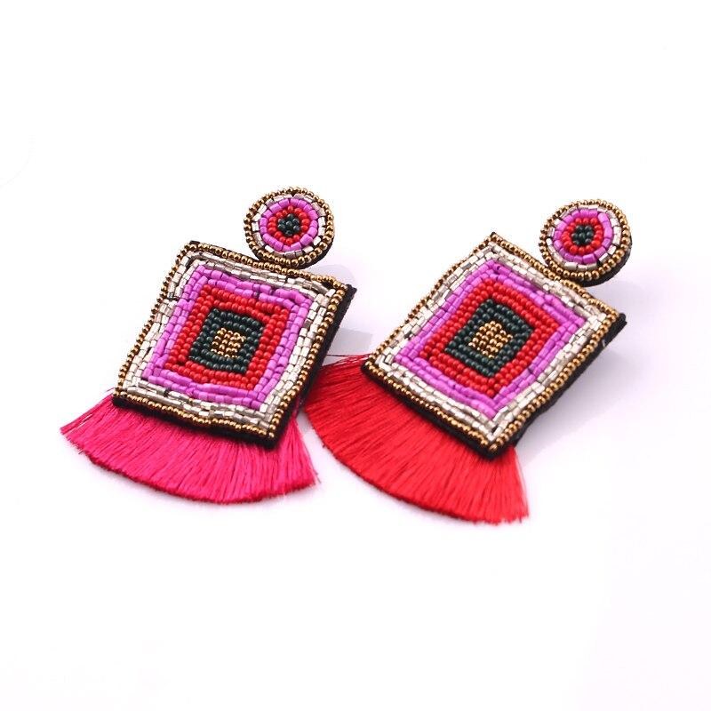 2019 Bohemian Handmade Beads Big Eye Tassel Drop Earrings For Women Wedding Trendy Girls Party Gift Statement zara boho
