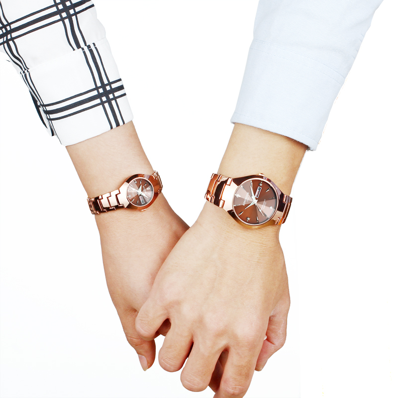 Lovers Watches Luxury Quartz Wrist Watch For Men Women Dual Calender Week Stainless Steel Saat Reloj Mujer Hombre Couple Watch
