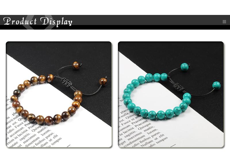 8mm Tiger Eye Stone Beads Bracelet Adjustable Braided Rope Bangles Natural Lava Rock Men Women Yoga Healing Balance Bracelets