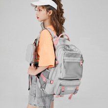 Backpack female tide high school student schoolbag Korean version of the contrast color large-capacity trendy travel backpack