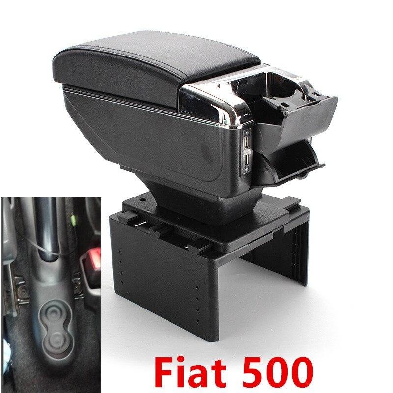 Fiat 500 için kol dayama kutusu USB şarj yükseltmek çift katmanlı merkezi İçerik tutucu küllük aksesuarları
