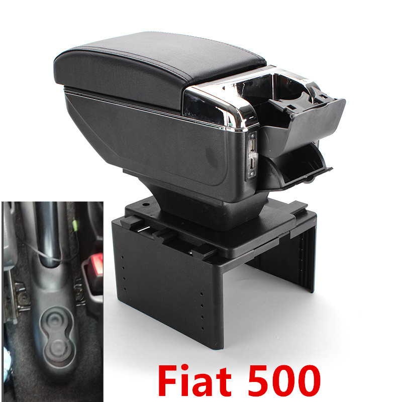 For Fiat 500 armrest box USB Charging heighten Double layer central content holder ashtray accessories