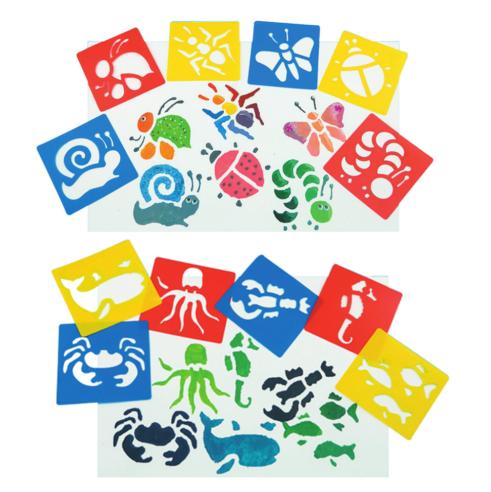 New DIY Children's Painting Dinosaur Animal Car Template Pattern Stencils Suit Kids Painting Early Children Educational Toy Gift