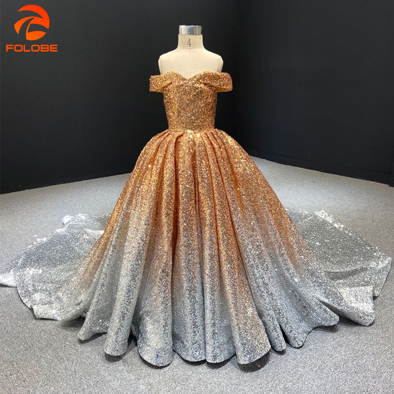 2020 Sparkling Flower Girl Dress Off The Shoulder Kids Wedding Party Dress Gradient Sequined Long Pageant Ball Gowns For Girls