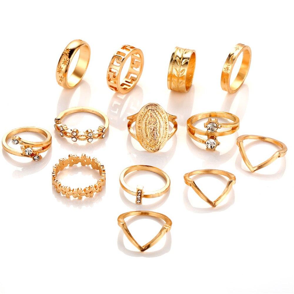 Женские винтажные кольца KSRA Boho с золотыми звездами и кристаллами, геометрические женские кольца на палец, ювелирные изделия 2020 6