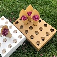 Confetti Cone Holder FEESTIGO Natural Petals Confetti Cones Holder For Wedding Decoration Party Poppers Cones Stand Box Tray