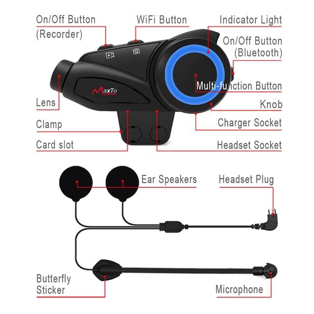 Maxto M3 Motorcycle Helmet Intercom Bluetooth & WIFI Recorer Group 6 Riders Moto Interphone DVR Dash Camera HD Sony 1080P Lens