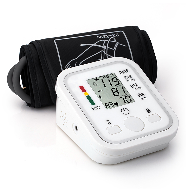B02 Automatic Digital Upper Arm Blood Pressure Monitor Heart Beat Rate Pulse Meter Tonometer Sphygmomanometer Pulsometer