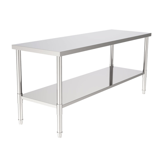 """72"""" Stainless Steel Galvanized Work Table 3"""